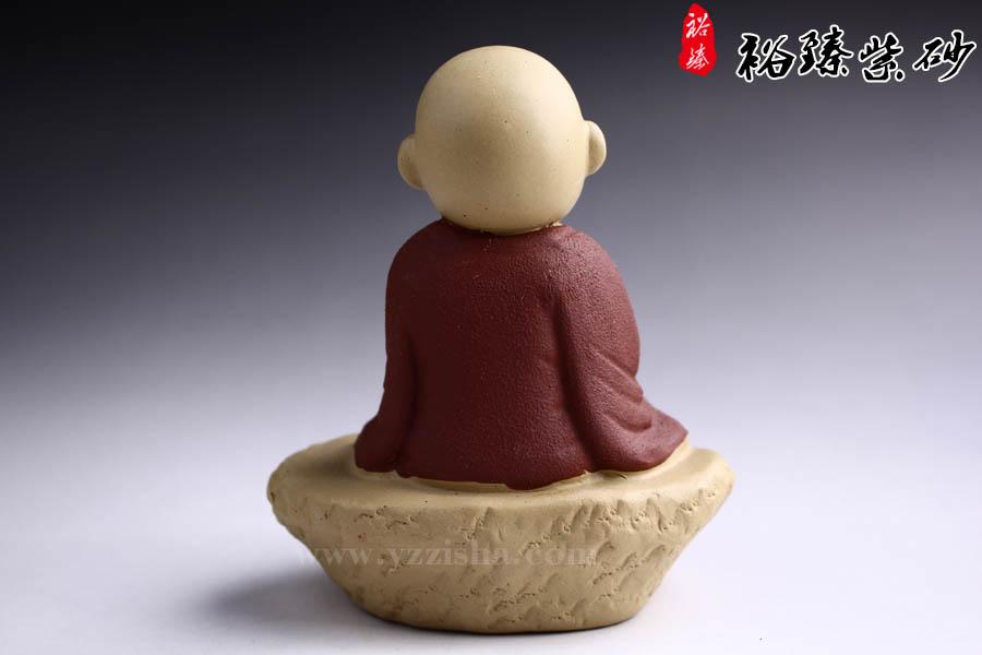 紫砂杂件茶宠坐禅小和尚图2