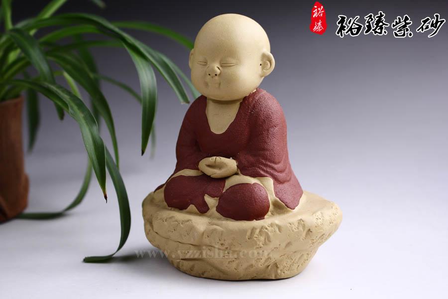 紫砂杂件茶宠坐禅小和尚图3